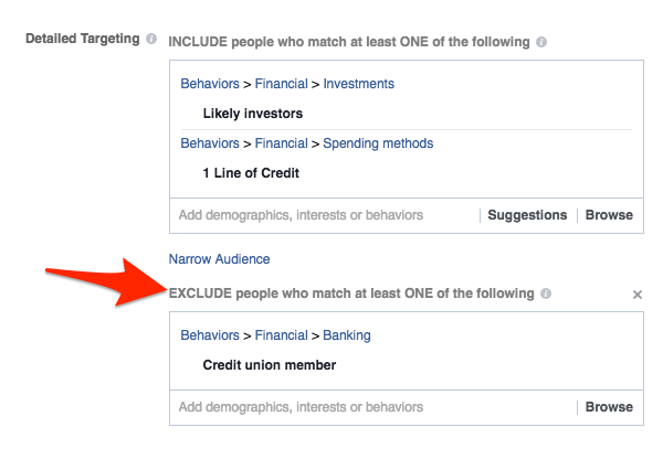 Targeting used for credit union social media budgets